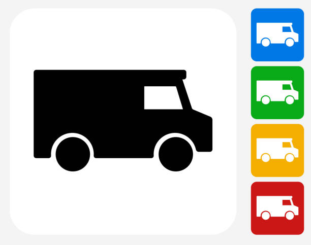 lkw-symbol flache grafik design - imbisswagen stock-grafiken, -clipart, -cartoons und -symbole