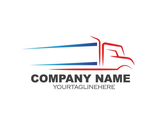 projekt wektora logo ciężarówki - przewóz stock illustrations