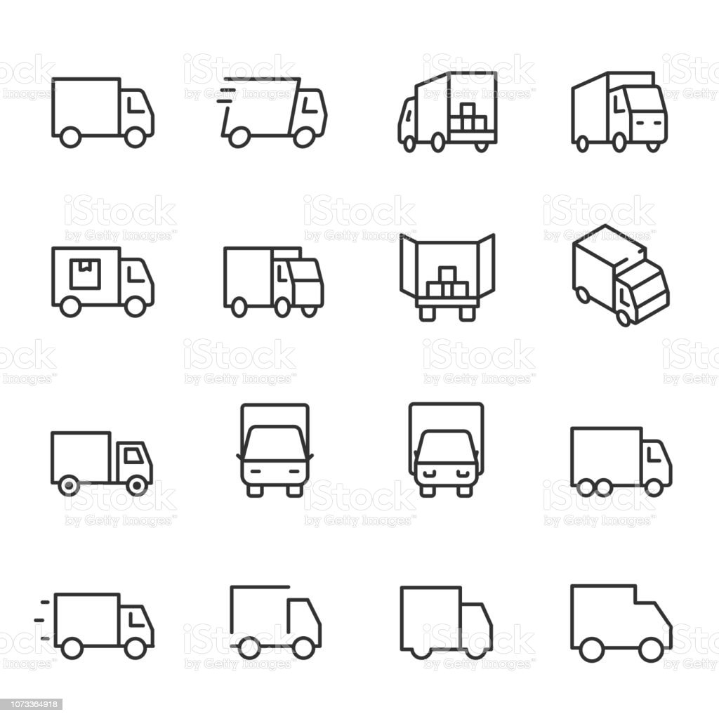 Truck, icon set. lorry, linear icons. Line with editable stroke vector art illustration