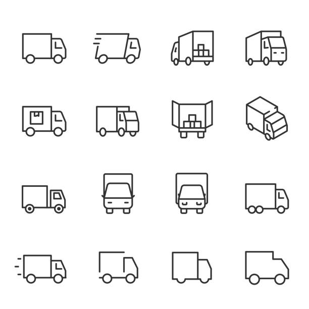 illustrazioni stock, clip art, cartoni animati e icone di tendenza di truck, icon set. lorry, linear icons. line with editable stroke - logistica