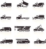 Truck Icons. This set features conventional truck types more commonly found in North America and Australia. Layered & grouped for ease of use. Download includes EPS 8, EPS 10 and high resolution JPEG & PNG files.