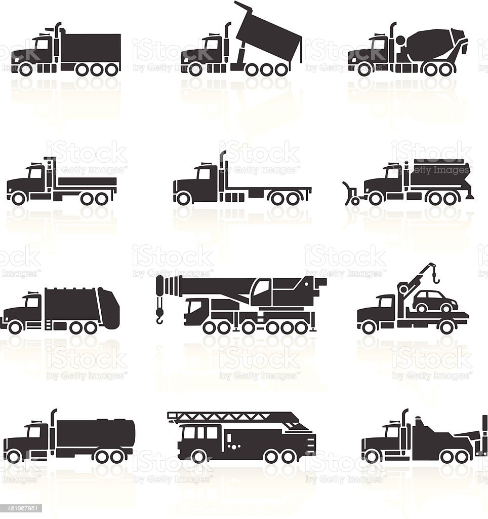 Truck Icons Set vector art illustration