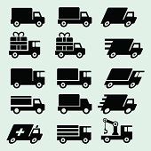Some various truck icons. Black outline, various versions of the truck. Include ambulance, fast delivery truck, gift or present truck ( that could be used for free shipping ) . Include also a truck with a crane.