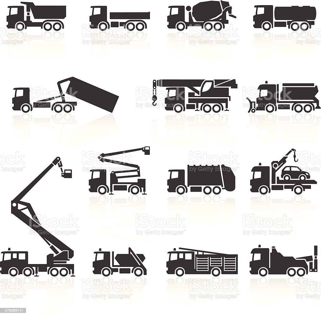 Truck Icons vector art illustration