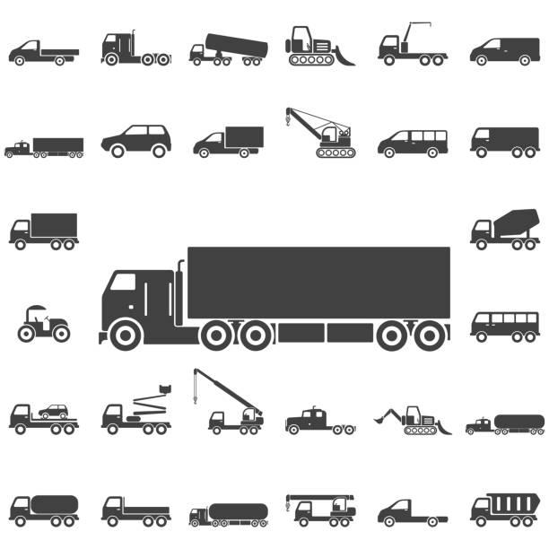 illustrazioni stock, clip art, cartoni animati e icone di tendenza di truck icons - transport truck tyres