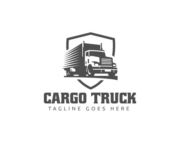 Truck illustration template, perfect for delivery, cargo and logistic business A template of Truck icon, cargo icon, delivery cargo trucks, Logistic icon semi truck stock illustrations