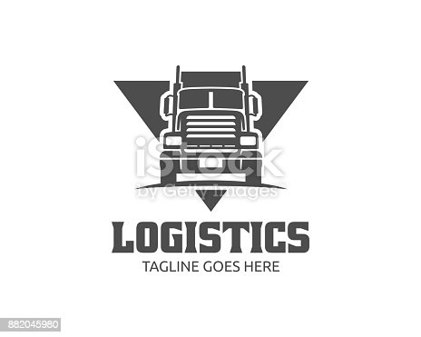 istock Truck illustration template, perfect for delivery, cargo and logistic business 882045980