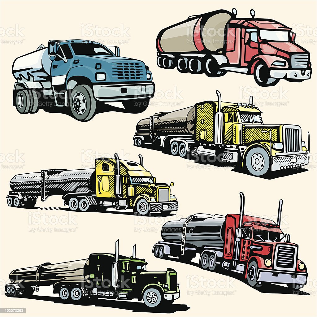 Truck Illustrations XIX: Tankers (Vector) royalty-free stock vector art