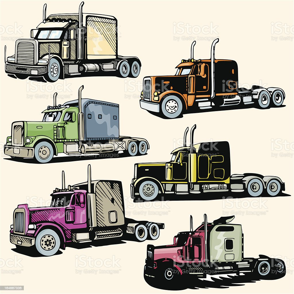 Truck Illustrations XXXII: Highway Trucks (Vector) royalty-free stock vector art