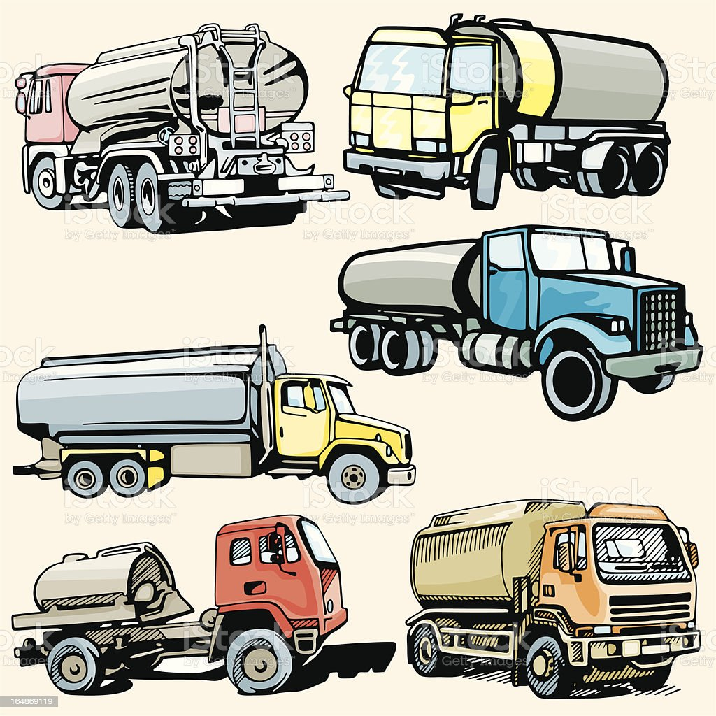 Truck Illustrations XXXIV: Tankers (Vector) royalty-free stock vector art
