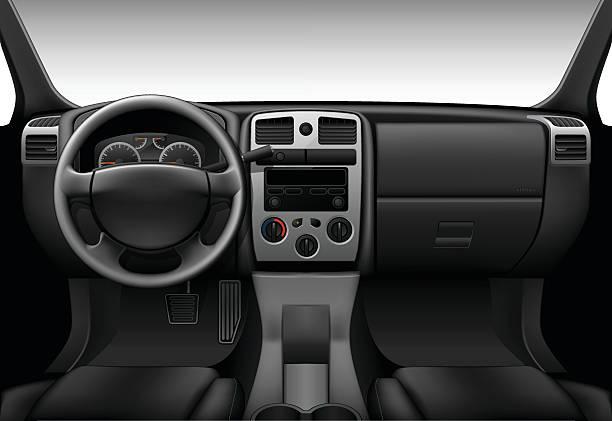Truck interior - inside view of car, dashboard Truck interior - inside view of car, dashboard steering wheel stock illustrations