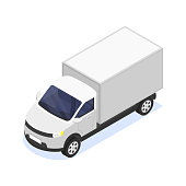 Truck isolated on a white background. Vector isometric illustration.
