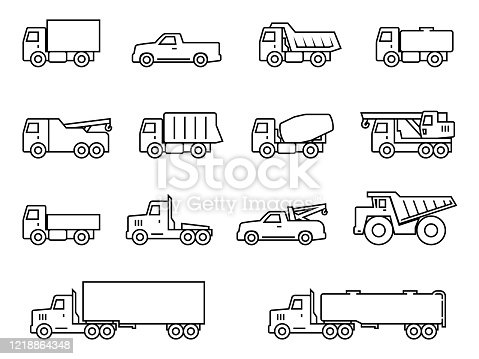 istock Truck line silhouette icons set 1218864348