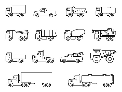Truck line silhouette icons set. Vector illustration