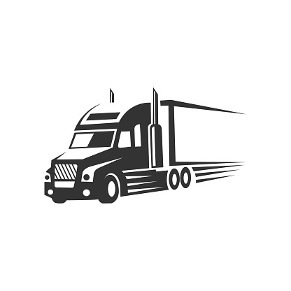 truck logistic vector silhouette logo template. perfect for delivery or transportation industry logo. simple with dark grey color