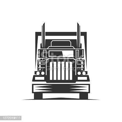 istock truck logistic vector silhouette logo template. perfect for delivery or transportation industry logo. simple with dark grey color 1272019111