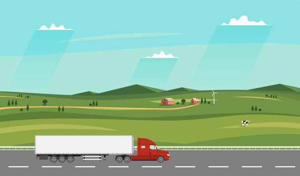 Camión en la carretera. Paisaje rural de verano con la granja. Camión de remolque pesado. - ilustración de arte vectorial