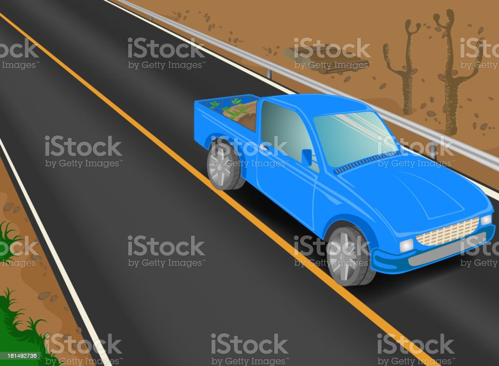 Truck on the road vector art illustration