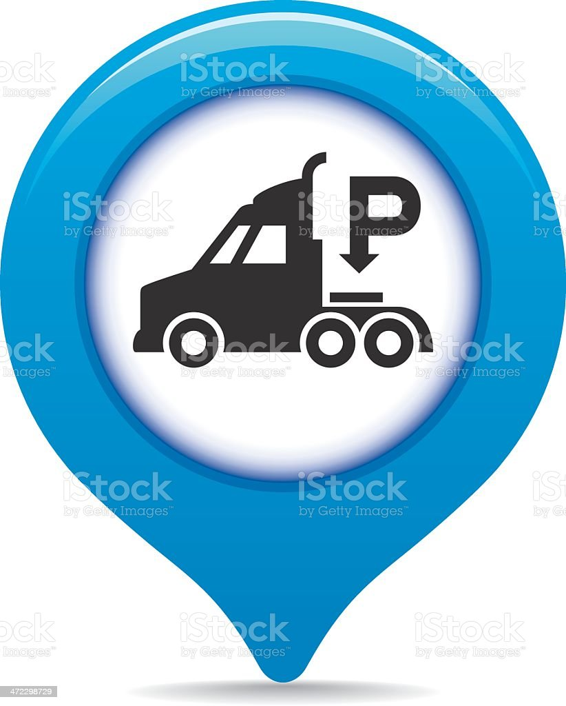 Truck parking map pointer royalty-free stock vector art