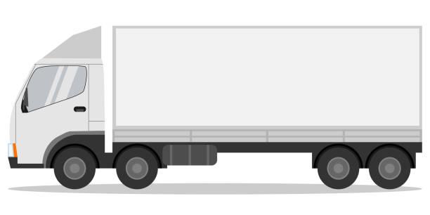 ilustraciones, imágenes clip art, dibujos animados e iconos de stock de camión, longitud de camión realista sobre fondo blanco con sombra. vector ilustración, vector. - conductor de autobús