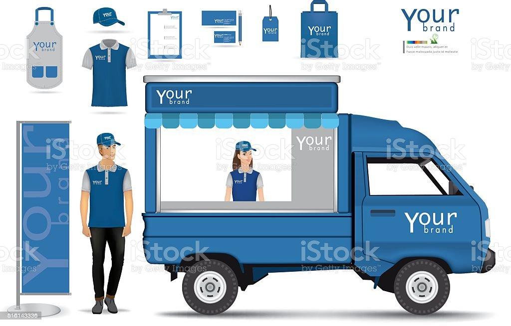 truck shop.vector vector art illustration