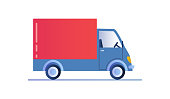 Delivery truck template isolated on white background. Truck car icon for service, branding and advertising. Transport for logistics and delivery. Flat cartoon vector illustration.