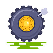 truck to puncture the wheel on the track. to let out air. Flat vector illustration isolated on white background.