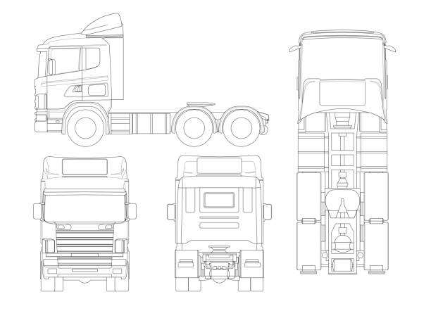 Truck tractor or semi-trailer truck in outline Combination of a tractor unit and one or more semi-trailers to carry freight. vector art illustration
