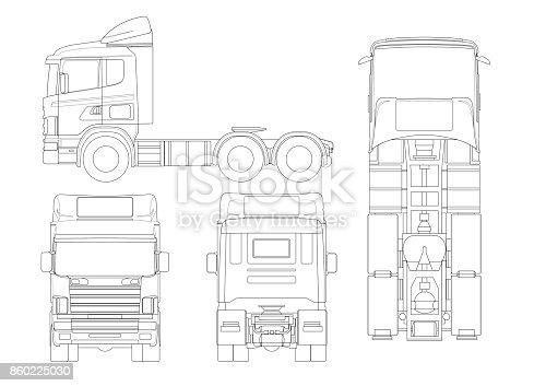 Truck Tractor Or Semitrailer Truck In Outline Combination