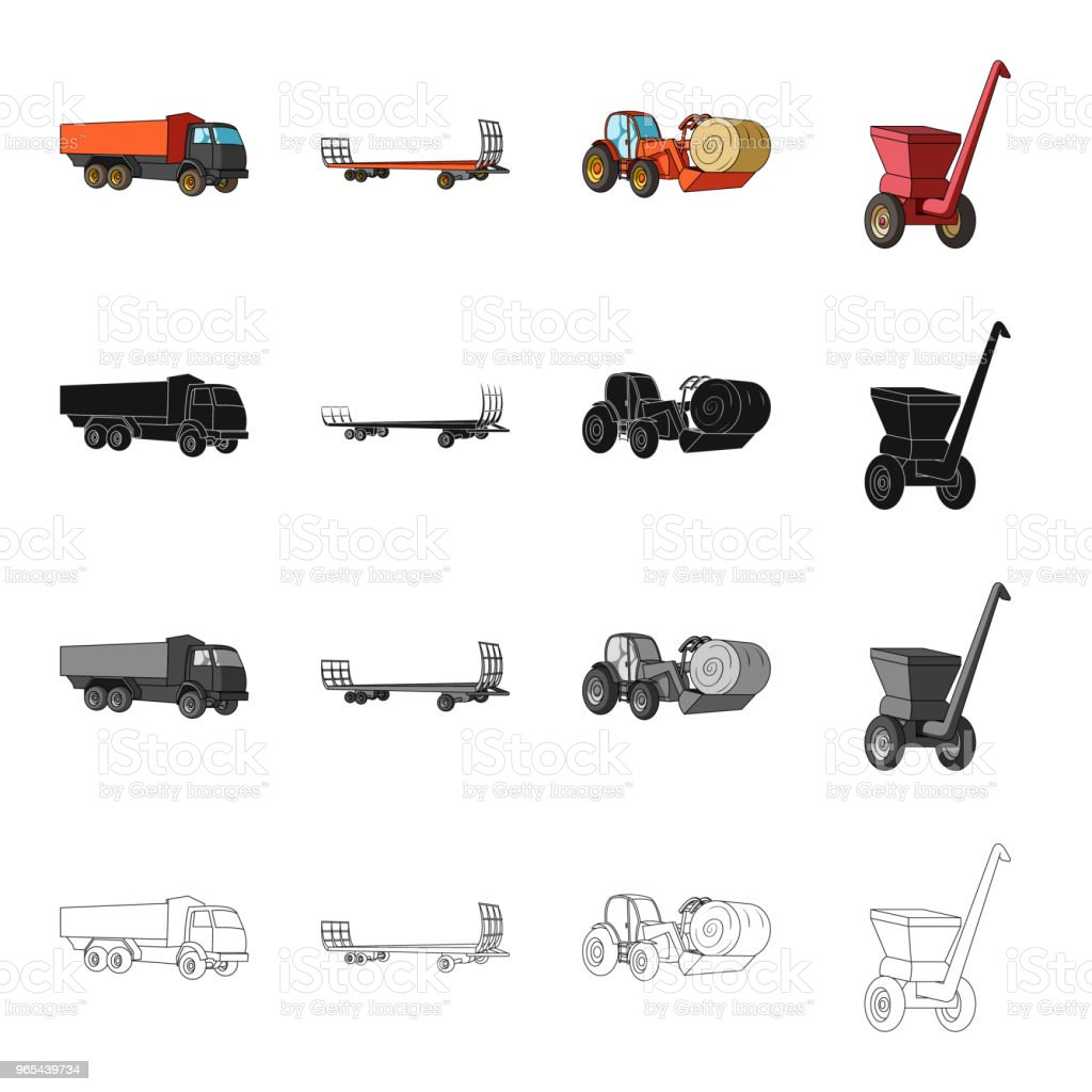 Truck, trailer for hay, tractor with a roll of hay, mobile chopper. Different types of agricultural machinery set collection icons in cartoon black monochrome outline style vector symbol stock isometric illustration web. truck trailer for hay tractor with a roll of hay mobile chopper different types of agricultural machinery set collection icons in cartoon black monochrome outline style vector symbol stock isometric illustration web - stockowe grafiki wektorowe i więcej obrazów bez ludzi royalty-free
