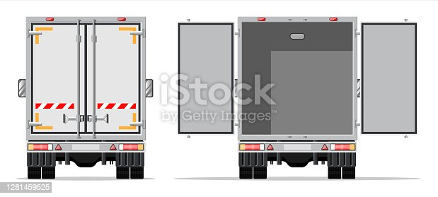 istock Truck trailer rear view side 1281459525