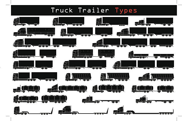 Truck trailer types Truck trailer types in black and white semi truck stock illustrations