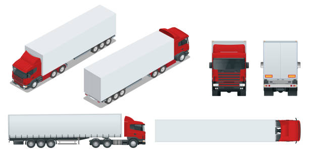 Truck trailer with container. Car for the carriage of goods. Cargo delivering vehicle template vector isolated on white View front, rear, side, top and isometry front, back. vector art illustration