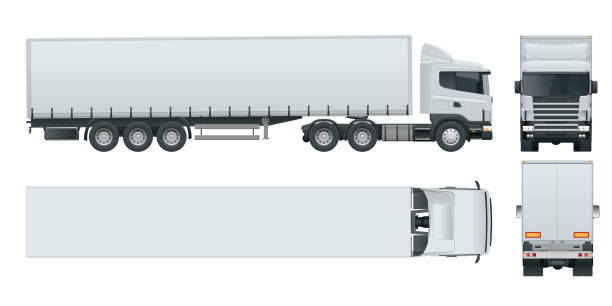 Truck trailer with container. Cargo delivering vehicle template vector isolated on white View front, rear, side, top. Car for the carriage of goods. vector art illustration