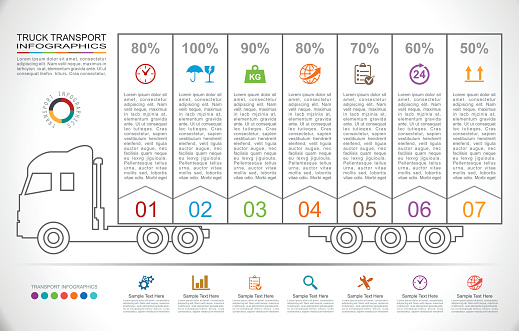 Truck Transport Infographics in Linear Style