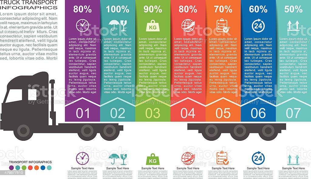 Truck Transport Infographics vector art illustration