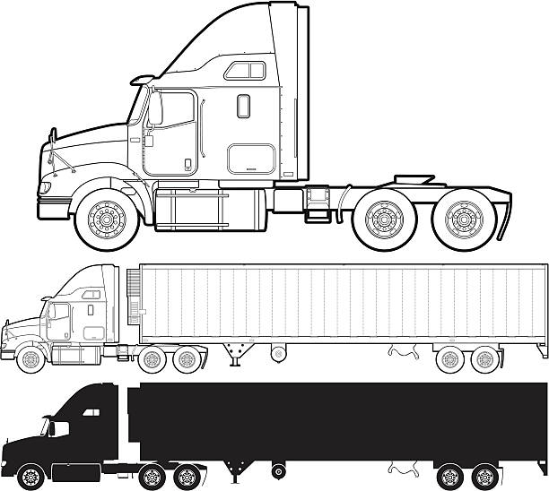 Truck Line art and silhouette version of a semi-truck. semi truck stock illustrations