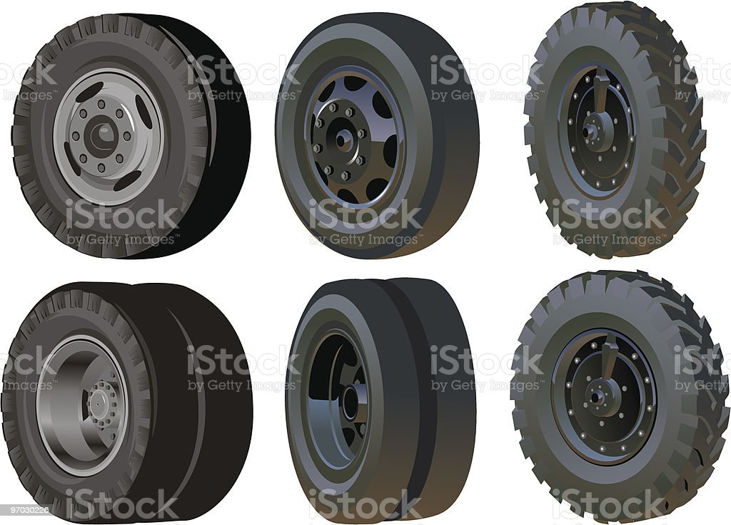 Truck wheels set royalty-free stock vector art