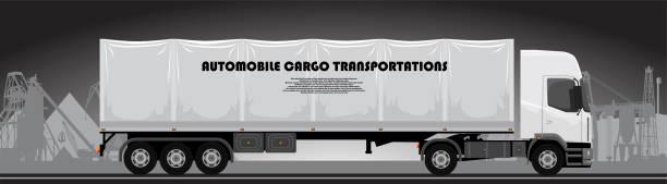 bildbanksillustrationer, clip art samt tecknat material och ikoner med lastbil med släp på en bakgrund av ett industriellt landskap - traktor pulling