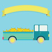 Truck carrying bananas. Blank ribbon for insert text.