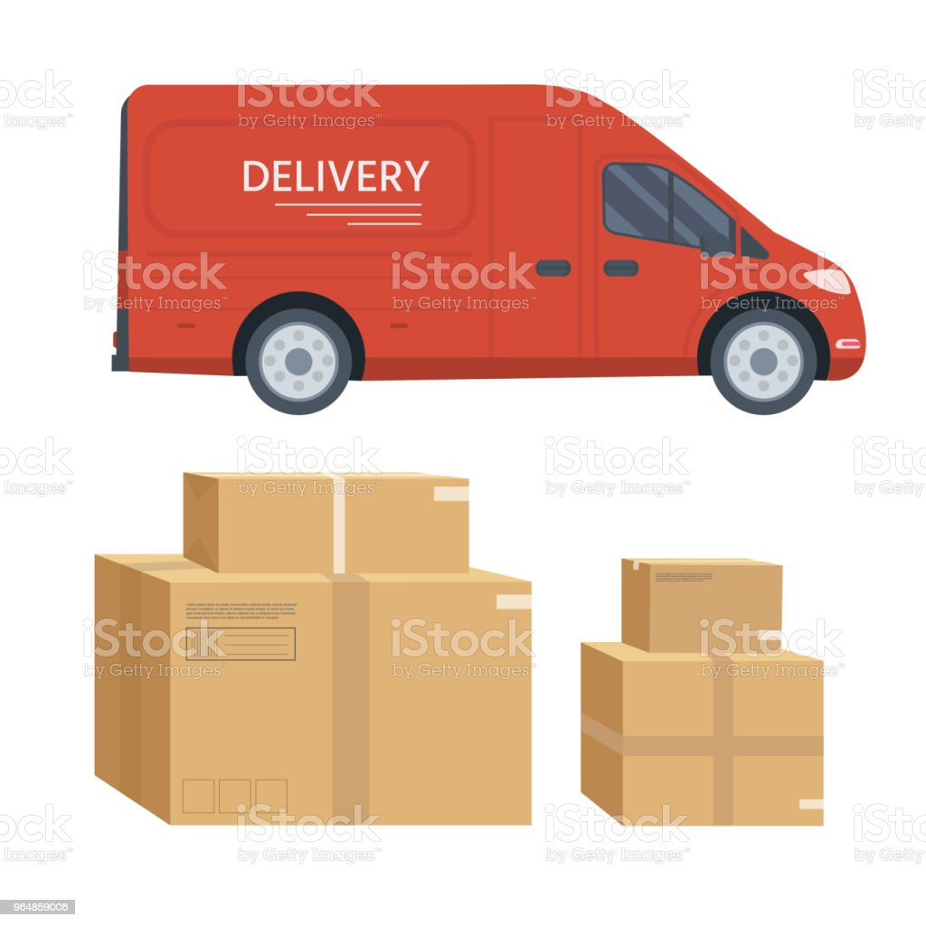 Truck with box container isolated on white background,  shop sh royalty-free truck with box container isolated on white background shop sh stock vector art & more images of advertisement