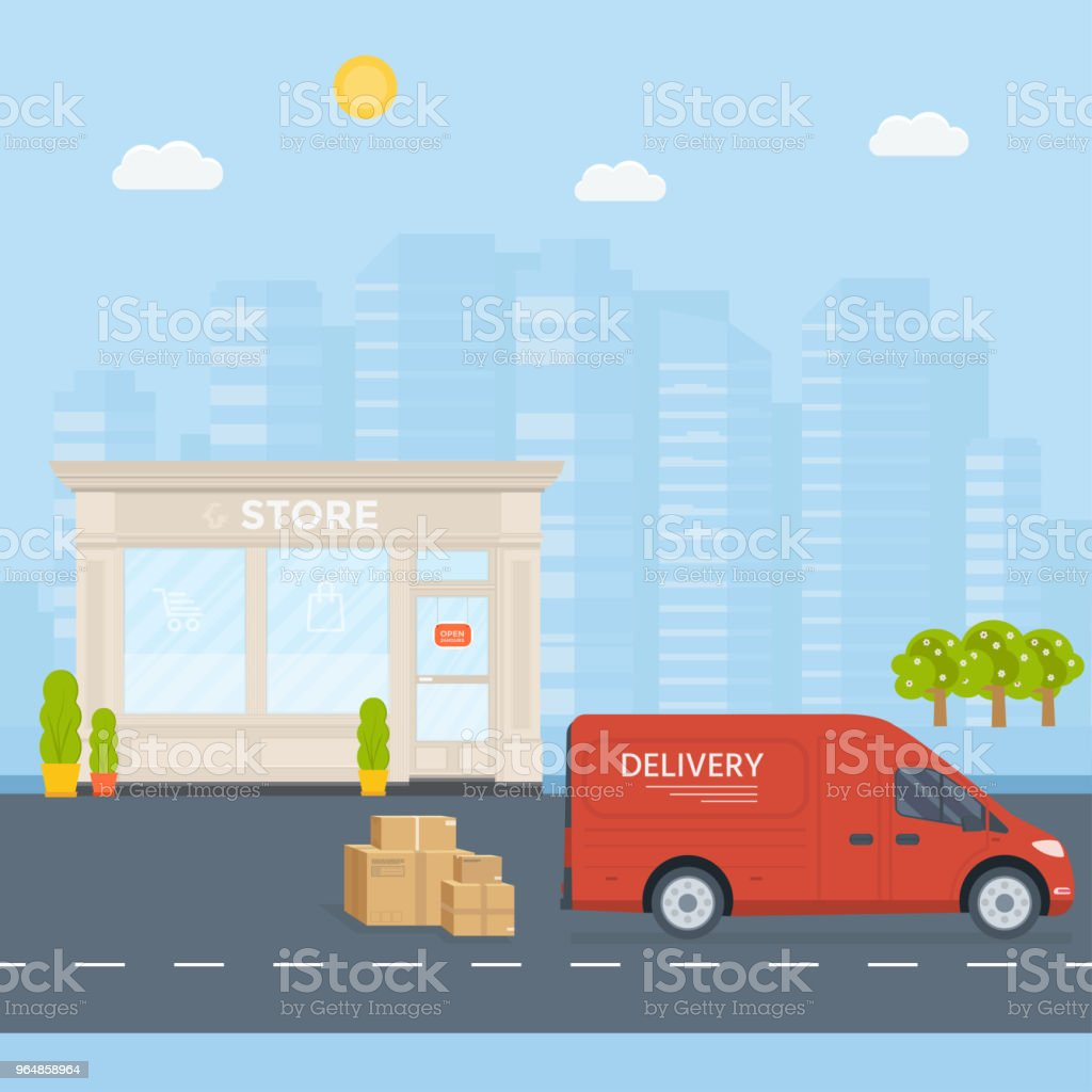 Truck with box container,store,  shop shipping with city background. royalty-free truck with box containerstore shop shipping with city background stock vector art & more images of advertisement