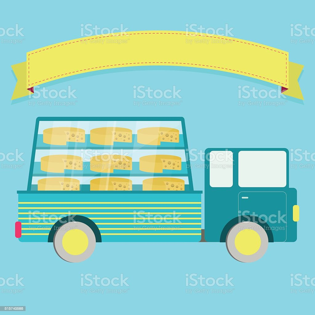 Truck with cheese vector art illustration