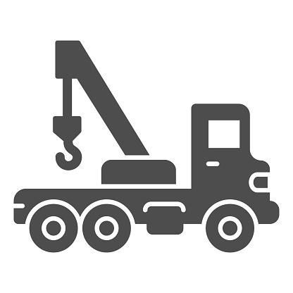 Truck with crane solid icon, heavy equipment concept, Construction Machine sign on white background, tow truck icon in glyph style for mobile concept and web design. Vector graphics.