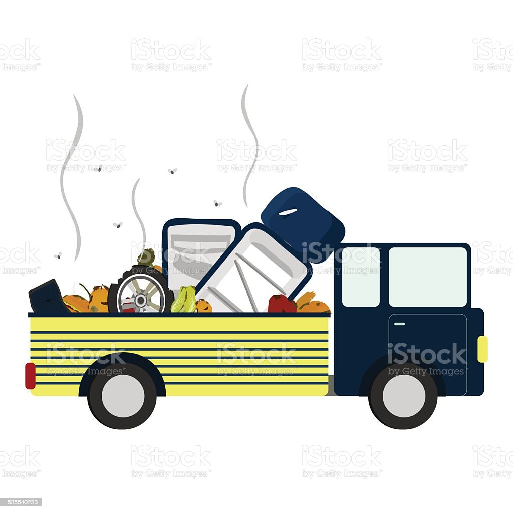 Truck with garbage vector art illustration