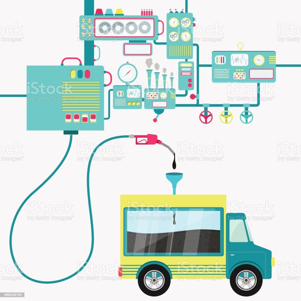 Truck with load and oil production vector art illustration