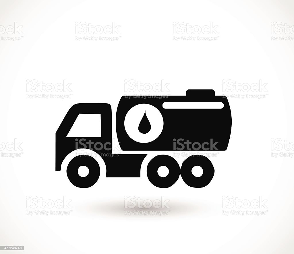 Truck with oil, transport icon vector illustration vector art illustration