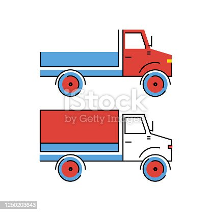 istock Truck with red and white cab and blue bodywork. Delivery and transportation of cargo 1250203643