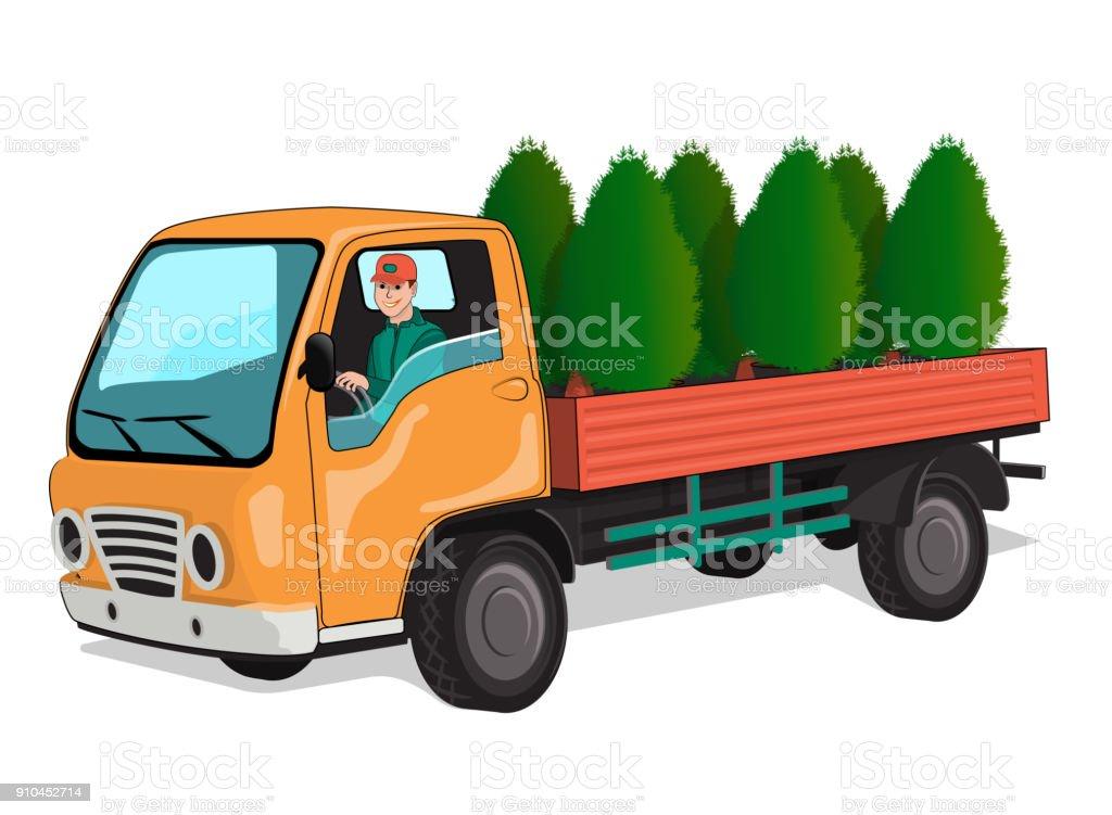 Truck with thuja - illustrazione arte vettoriale