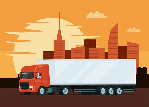 Truck with trailer and driver against the background of the cityscape at sunset. Vector flat style illustration.